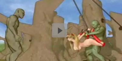 【3Dアニメ】女戦士が吊るされて獣人に上下の口をレイプされる