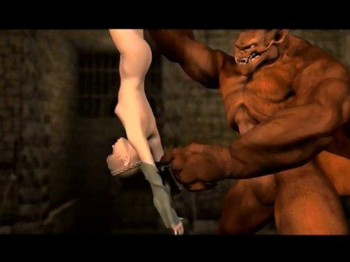 【3Dアニメ】醜悪なドラゴンに犯されるお嬢さん 牢に閉じ込められ大きな化け物に裸に剥かれ股間に舌を突き刺される ぐったりしてもピストンを続ける獣 ★無修正